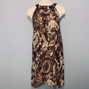 MSK Pixelated Floral Dress M Brown